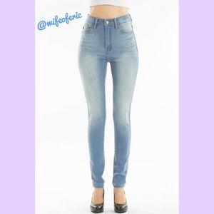 Kancan High Rise Super Skinny Jeans Lt. Stone Wash